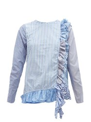 By Walid Nicky Panelled Striped Cotton Blouse Blue Multi