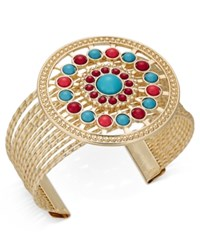 Thalia Sodi Gold Tone Blue And Red Stone Circle Cuff Bracelet Only At Macy's