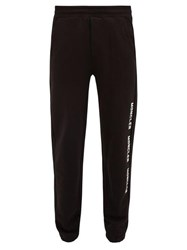 Moncler Logo Print Cotton Jersey Track Pants Black