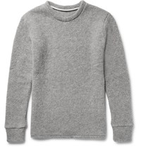 The Elder Statesman Popcorn Stitch Cashmere Sweater Gray