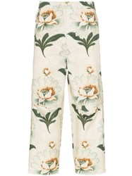 By Walid Lotus Flower Print Cropped Trousers Neutrals