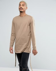 Asos Longline Long Sleeve T Shirt With Strap Detail Brown