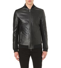 Armani Jeans Panelled Leather Bomber Jacket Black