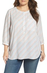 Nydj Plus Size Women's Henley Top Resort Anchors Blue