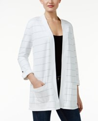 Karen Scott Petite Striped Open Front Cardigan Only At Macy's Bright White