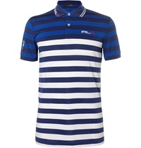 Rlx Ralph Lauren Striped Stretch Pique Golf Polo Shirt Blue