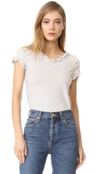 La Vie Rebecca Taylor Short Sleeve Ruffle Tee Heather Grey