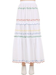 Tory Burch Embroidered Cotton Poplin Long Skirt White
