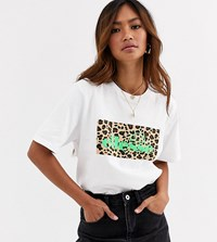 Ellesse T Shirt With Leopard Print Box Logo White