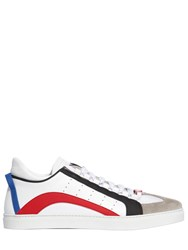 Dsquared New 551 Leather Rubber Suede Sneakers White Red
