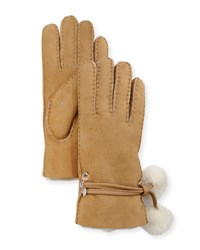 Ugg Brita Shearling Lined Gloves W Pompoms And Charms Brown