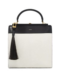 Tom Ford Large Bicolor Leather Satchel Bag W Calf Hair Tassel White Black White Black
