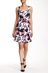 Robbie Bee V Neck Floral Fit And Flare Dress Multi