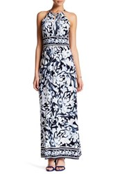 London Times Printed Keyhole Halter Maxi Dress Petite Blue
