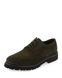 Bruno Magli Majro Suede Wingtip Oxford Green