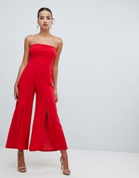 Ax Paris Bandeau Jumpsuit With Side Split Red