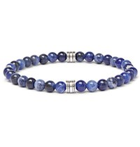 Hugo Boss Bastian Agate And Silver Tone Beaded Bracelet Blue