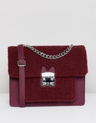 Paul And Joe Sister Shearling Shoulder Bag Red