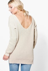 Boohoo V Back Oversized Jumper Stone