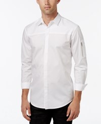 Inc International Concepts Men's Textureblocked Long Sleeve Shirt Only At Macy's White
