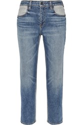 Alexander Wang Ride Cropped Two Tone High Rise Slim Leg Jeans Mid Denim