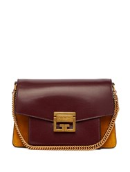 Givenchy Gv3 Small Suede And Leather Cross Body Bag Burgundy Multi