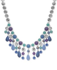 Nine West Silver Tone Colored Stone And Bead Statement 16 Necklace Blue