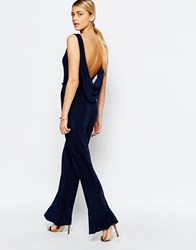 Love Cowl Back Wide Leg Jumpsuit Navy