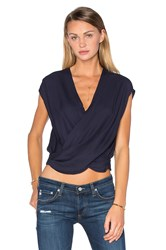 L'agence T Lee Criss Cross Cropped Blouse Navy