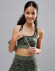 Only Play Performance Camo Sports Bra Green