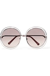 Chloe Carlina Round Frame Gold Tone Sunglasses One Size