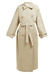 Raey Batwing Split Back Cotton Trench Coat Beige