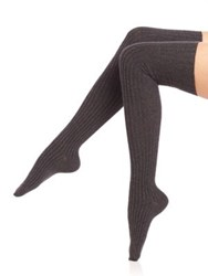 Ilux Magony Ribbed Over The Knee Socks Black Charcoal