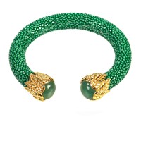 Latelita London Stingray Bangle With Stone Jade Gold Green