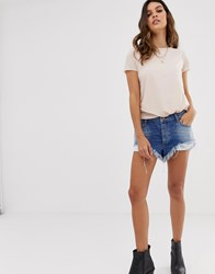 One Teaspoon Rollers Low Waist Relaxed Fit Short With Raw Hem Blue