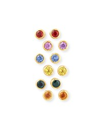 22K Mixed Sapphire Bezel Stud Earrings Set Of 6 Jean Mahie