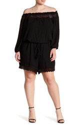 Stony Off The Shoulder Crochet Trim Romper Plus Size Black