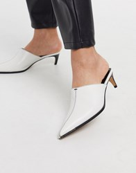 Topshop Pointed Heeled Mules In White