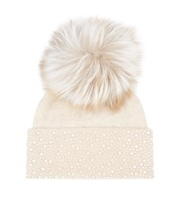 William Sharp Embellished Pom Pom Hat Beige