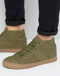 Asos Lace Up Skater Sneakers In Khaki Canvas With Gum Sole Green