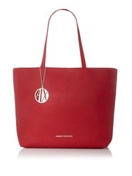 Armani Exchange Pebbled Zip Top Shopper Tote Red