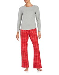 Calvin Klein Long Sleeve Tee And Pajama Pants Set Grey Red Check
