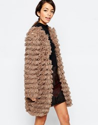 Traffic People Hold Me In Your Arms Coat In Faux Fur Brown