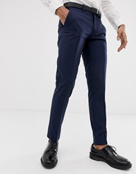 Esprit Slim Fit Suit Trousers With Tonal Check In Navy Tonal