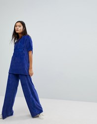 Ellesse Oversized T Shirt Co Ord In Velour Bright Navy