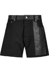 Mcq By Alexander Mcqueen Faux Leather Paneled Denim Shorts Black