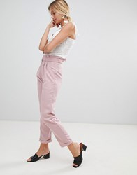 Glamorous Trousers With D Ring Belt Light Pink
