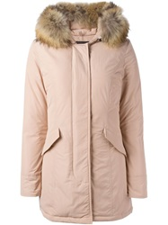 Woolrich Fur Trimmed Parka Coat Pink And Purple