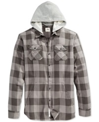 Rusty Ironbark Plaid Hooded Long Sleeve Shirt Pewter