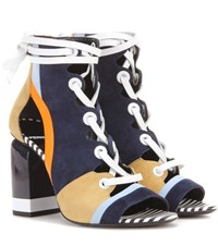Pierre Hardy Alchimia Leather And Suede Sandals Blue